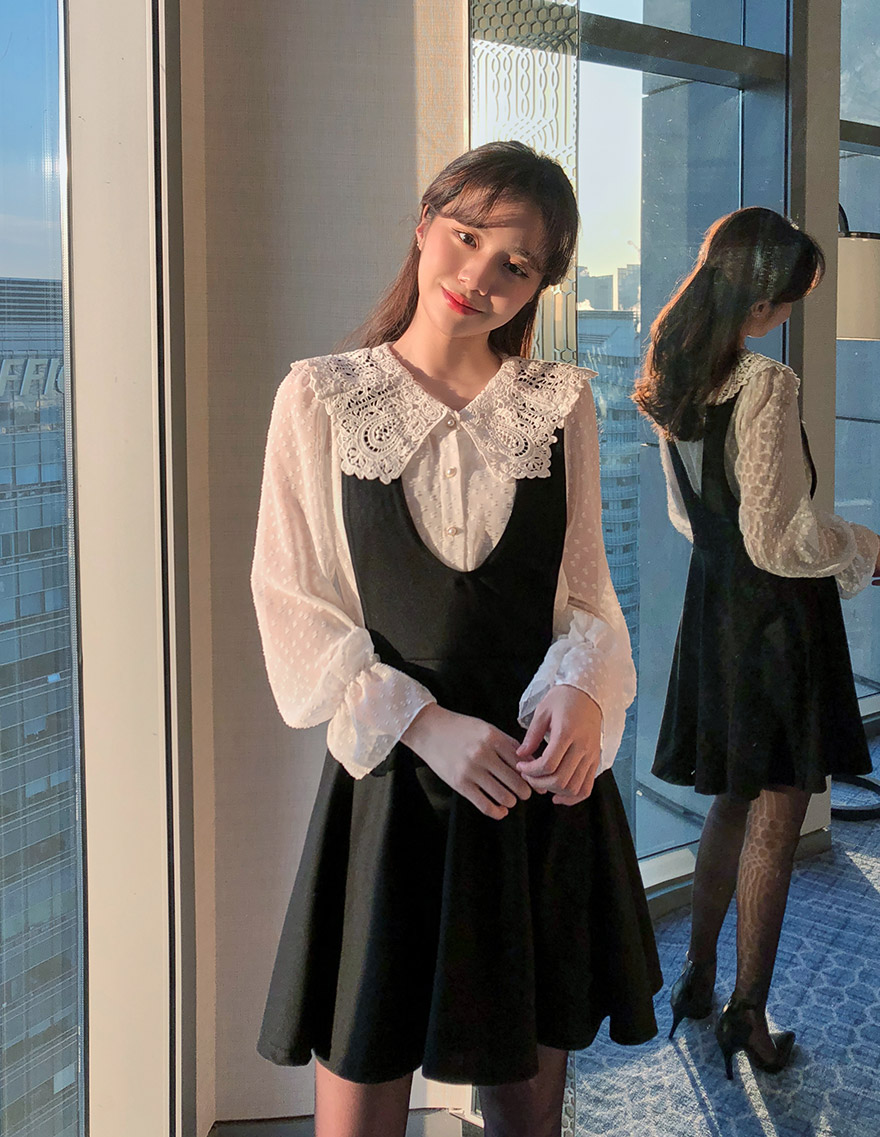 Lace Blouse Layered Dress, 달리호텔