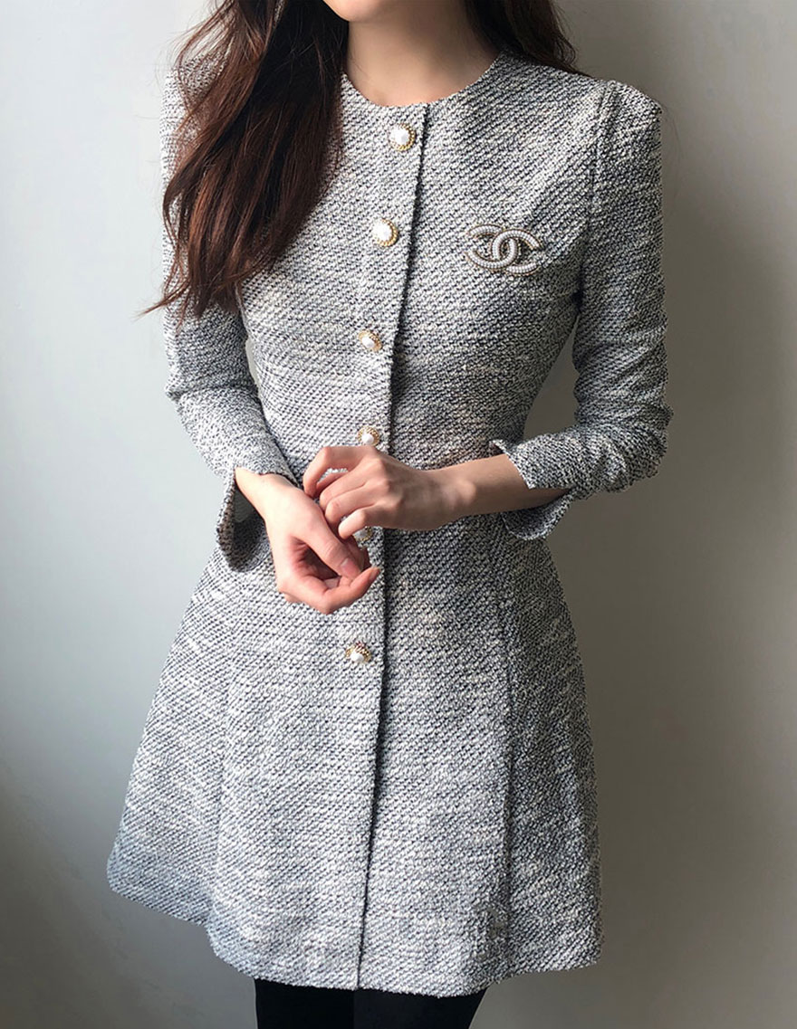 Tweed Cubic Button Dress, 달리호텔