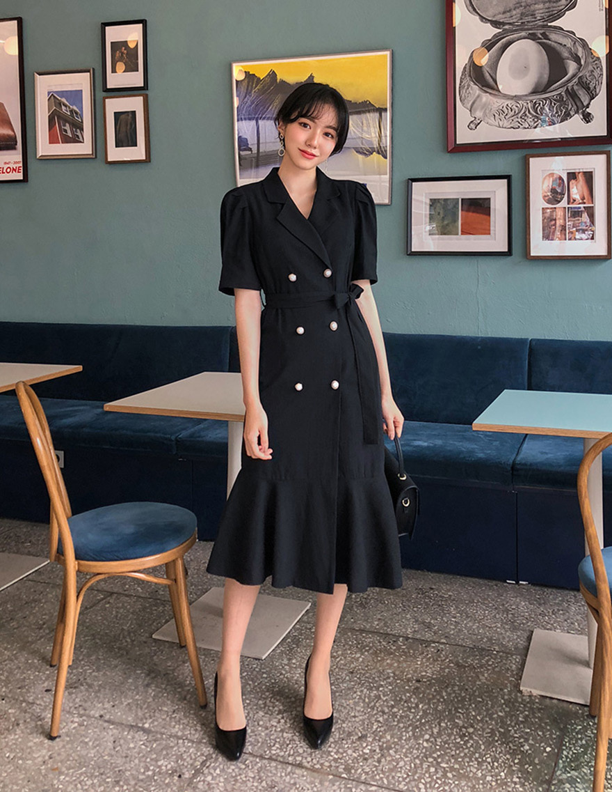 달리호텔 / Linen Double Button Dress