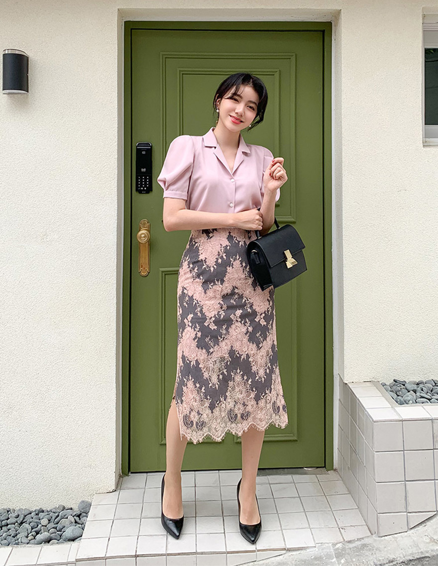 달리호텔 / Two Tone Lace Skirt