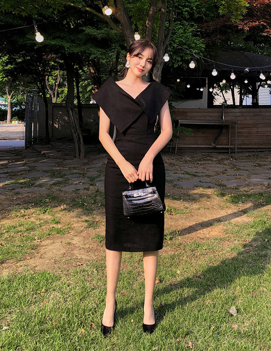 달리호텔 / Foldover Off-The-Shoulder Midi Dress