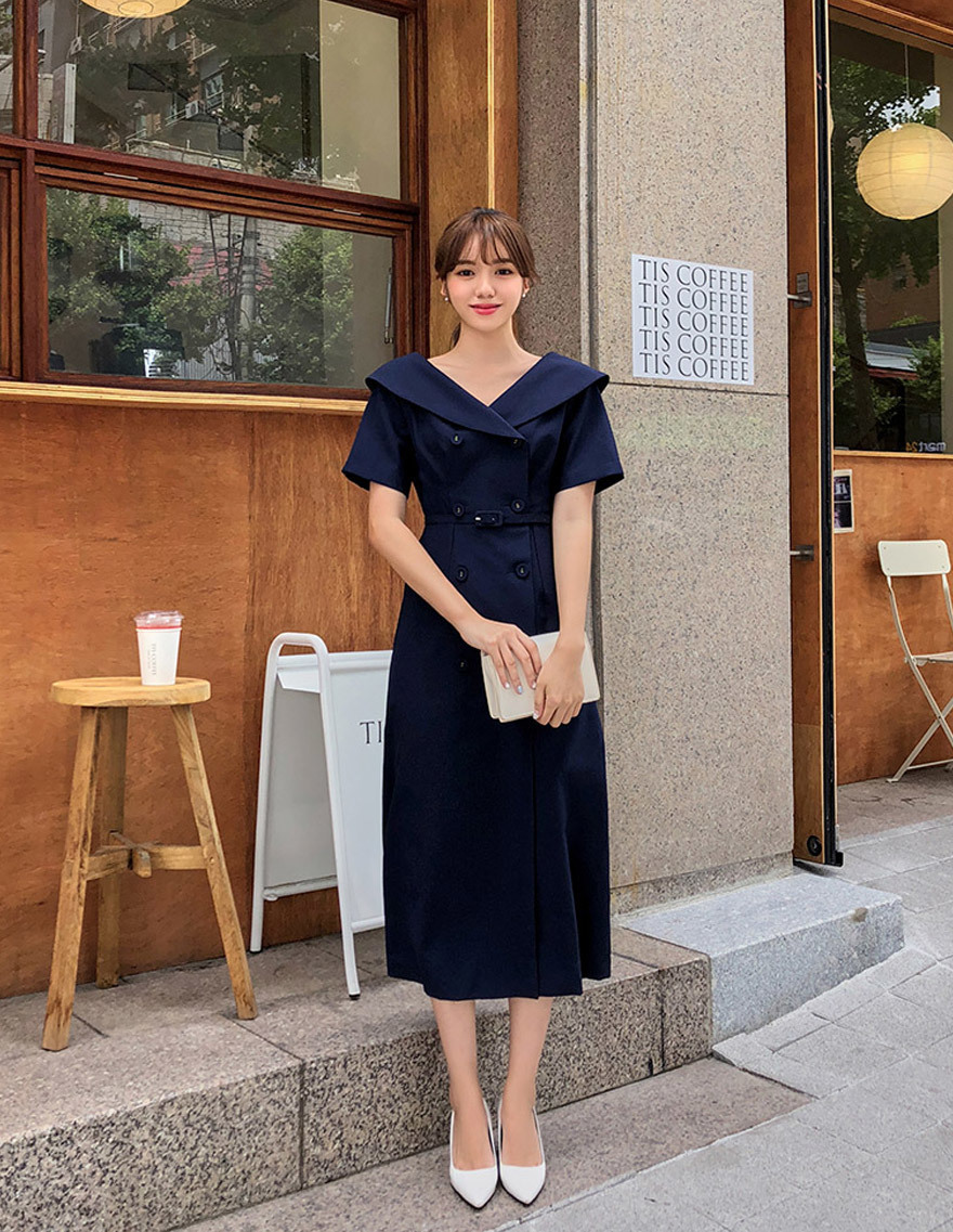 달리호텔 / Sailor Collar Midi Dress