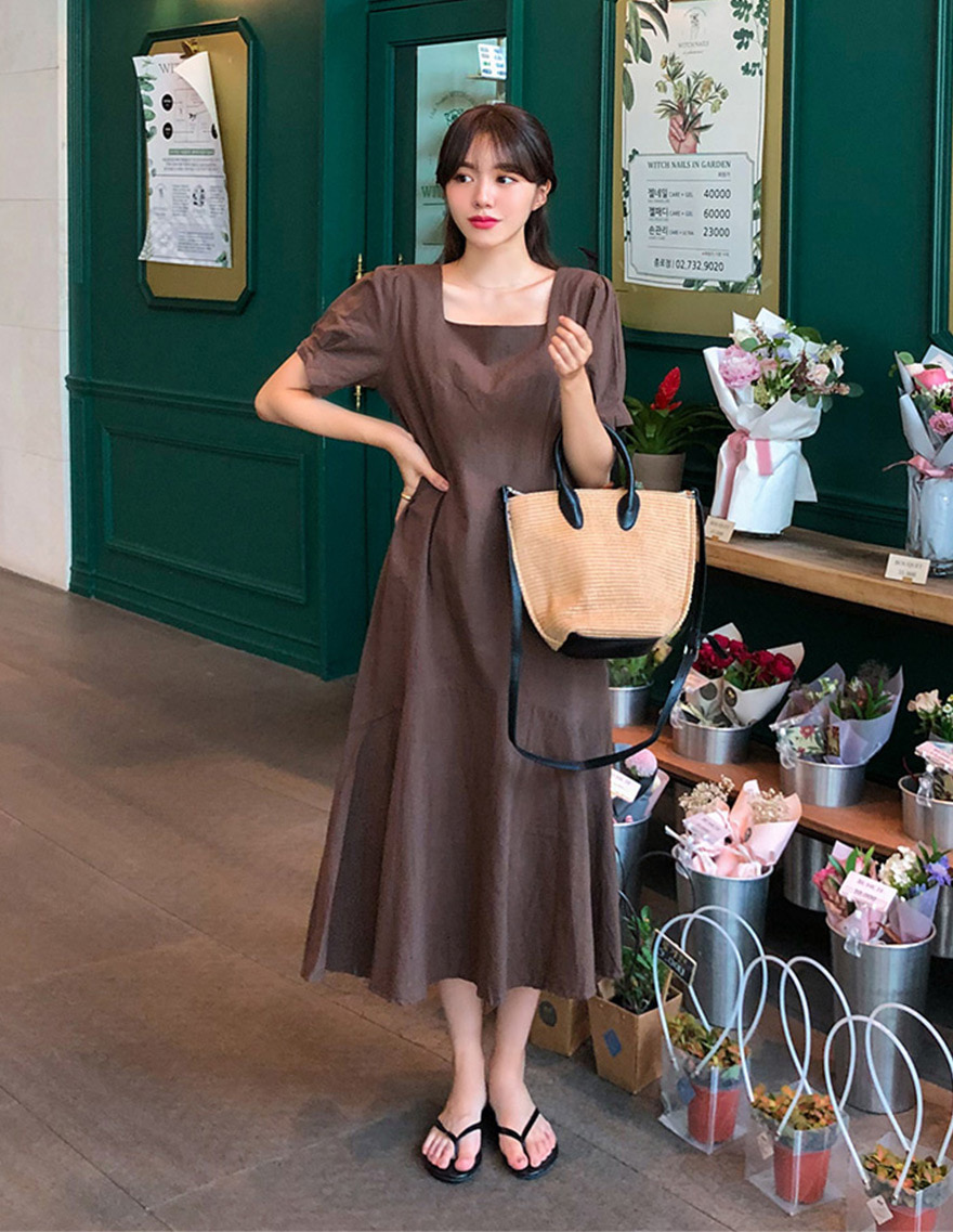 달리호텔 / Square Neck Maxi Flare Dress