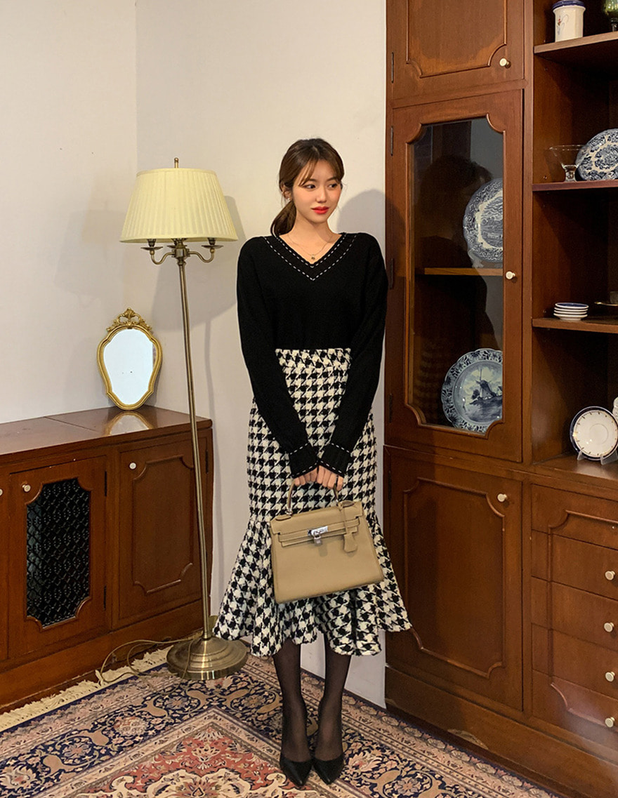 달리호텔 / Classic Houndstooth Mermaid Skirt_H61439