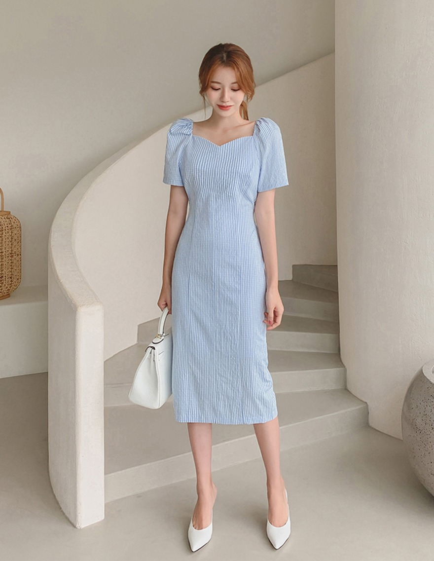 달리호텔 / Heart Neckline Checked Dress_H65623