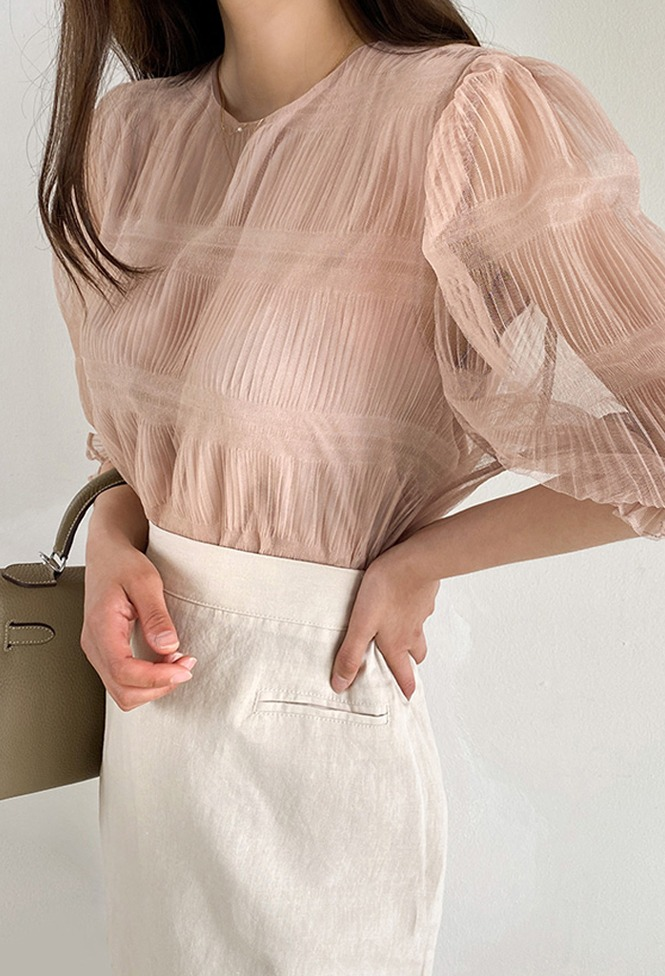 달리호텔 / Provence Sheer Puff Blouse_H65067