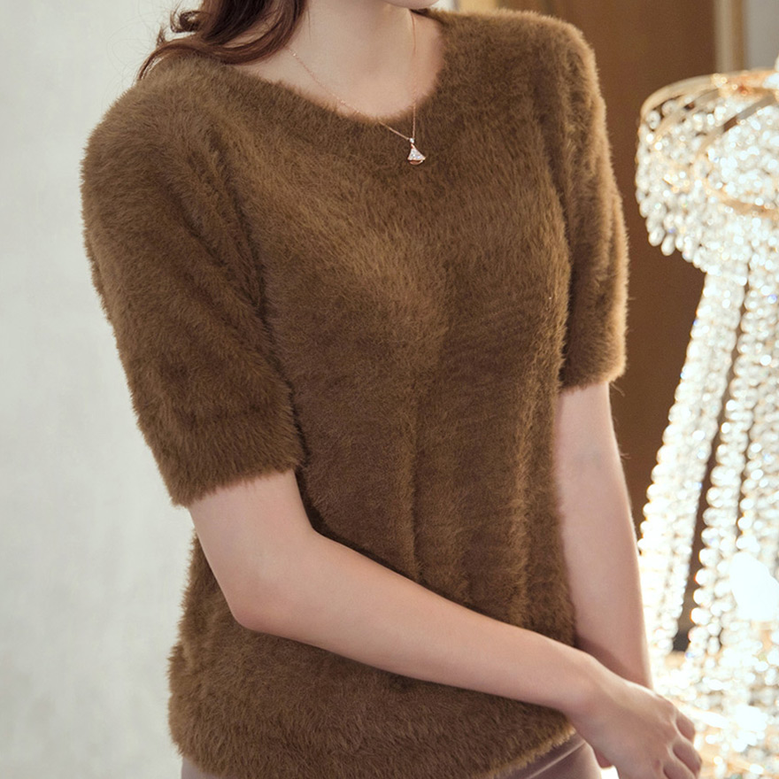 [CHUU]Short Sleeve Fuzzy Knit