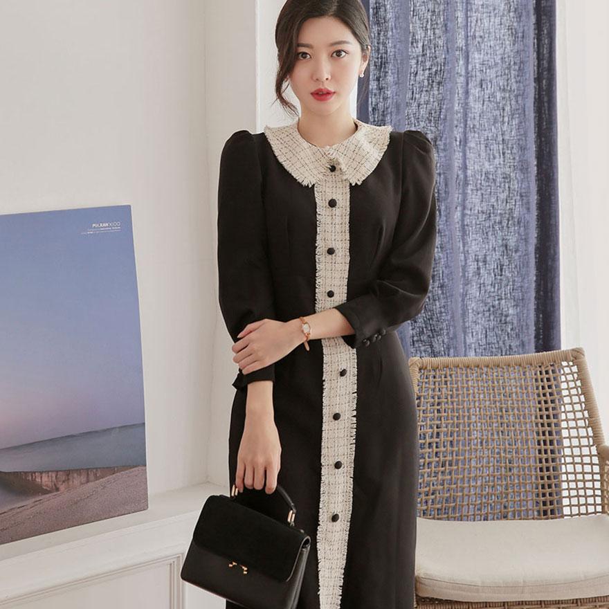 [CHUU]Tweed Collar Dress