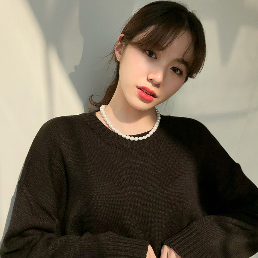 [CHUU] Round Neck Daily Knit Top