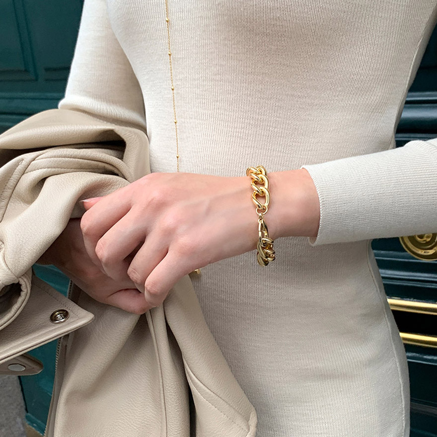 [CHUU] Bold Chain Bracelet