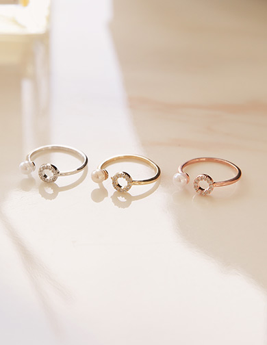 [CHUU]Circle Cubic Pearl Ring