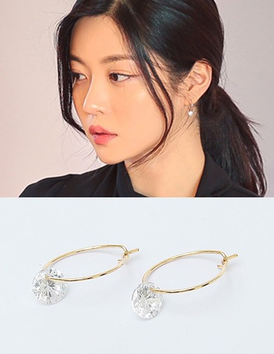 달리호텔 / Circle Gold Cubic Earring