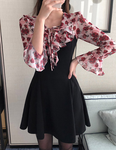 달리호텔 / Floral Blouse Layered Dress