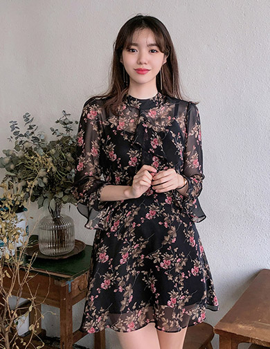 달리호텔 / Floral Chiffon Mini Dress