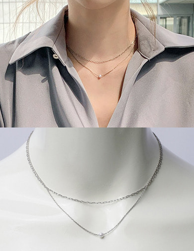 달리호텔 / Pearl double layered necklace