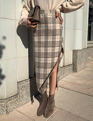 [CHUU] Checked Slit Long Skirt