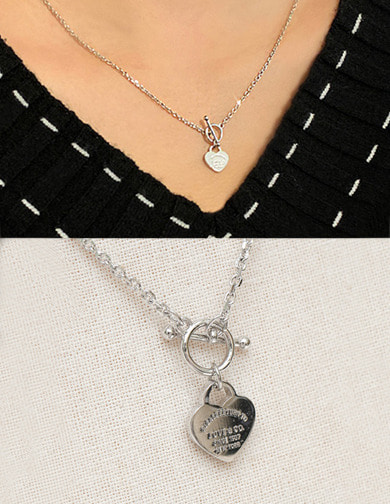 달리호텔 / Lettering Heart Point Necklace