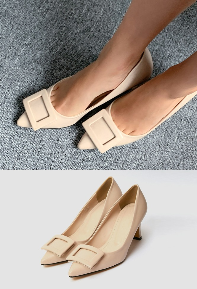 달리호텔 / Square Buckle Middle Heel