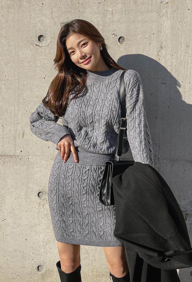 ケーブル knit+skirt set_DLOP20D012